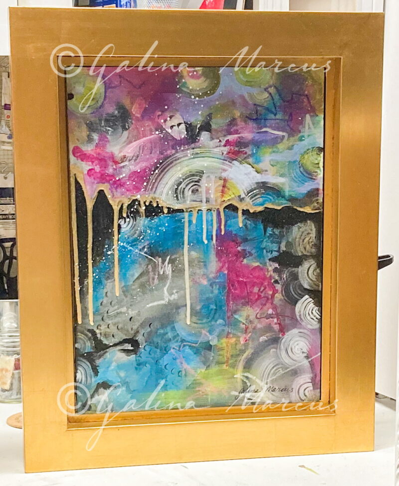 Milky Way painting in gold frame
