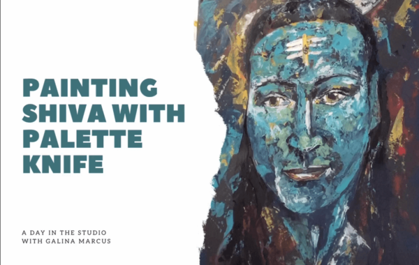 painting Shiva with palette knife