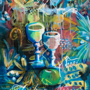 two cups original painting acrylic on paper